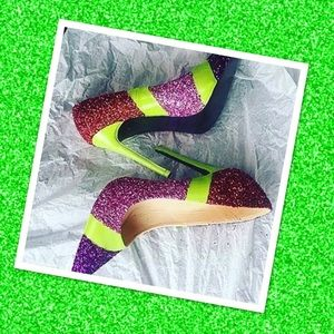 Women Custom Multi-Color Lime Green Glitter Heels